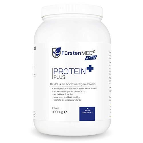FürstenMED® Whey Protein Pulver Vanille 1kg mit Casein, Inulin & Laktase (leicht verdaulich) Laborgeprüfte Pharmaqualität aus Deutschland