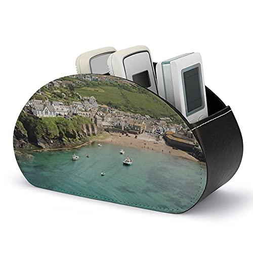 Portabebés para control remoto con 5 compartimentos, Port Isaac Cornwall PU cuero organizador remoto TV caja de almacenamiento para TV, DVD, controladores