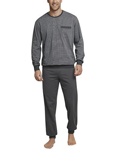 Schiesser Herren Anzug lang m. Bündchen Zweiteiliger Schlafanzug, Grau (Dunkelgrau 205), XXX-Large (Herstellergröße: 058)