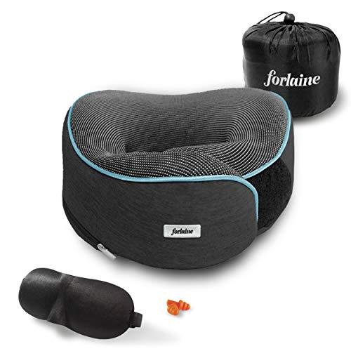 FORLAINE Almohada de Viaje Viscoelástica (Memory Foam) - Ajustable con Velcro - Soporte de 360 Grados para Cuello y Hombros - Suave, Transpirable, Material Plegable, Funda Extraíble