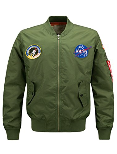 Mens Bomber Army Style Lightweight Flight Windbreaker Green NASA Jacket