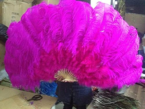 HARIKA Ostrich Feathers outlet Inventory cleanup selling sale Double Fan Bamboo Halloween Party Pole D