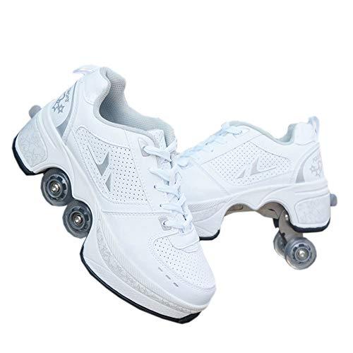 Unbekannt Schuhe mit Rollen Skateboardschuhe,Inline-Skate,2-in-1-Mehrzweckschuhe,Verstellbare Quad-Rollschuh-Stiefel-Männliche und weibliche Paare-39 EU/White