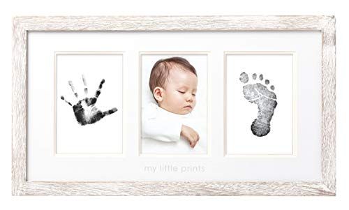 Pearhead My First Year Photo Moments Baby Keepsake Frame, Babyprints Rustic Frame, Gender Neutral Nursery Décor for Baby Girl or Baby Boy, Wood