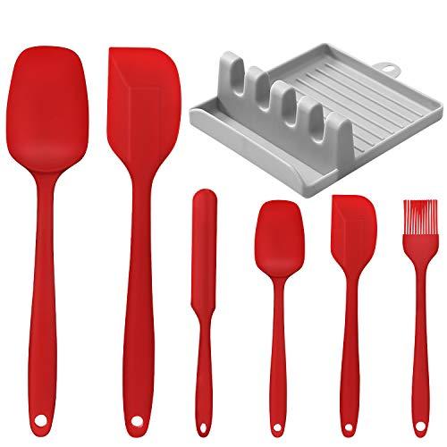 Kikc Utensilios de Cocina de Silicona,Set de 6 Espátulas Silicona Incluye Hilvanado Cepillo y 1 Soporte de espátula de Cocina, No Tóxico, Antiadherente,Resistente al Calor