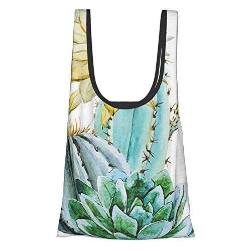Hdaw Cactus Decor Vector Imagen con Cactus Acuarela Cactus con Pinchos y Flores Atractivas Impresión Azul y Blanco Reutilizable Plegable Bolsas de la Compra Ecológicas