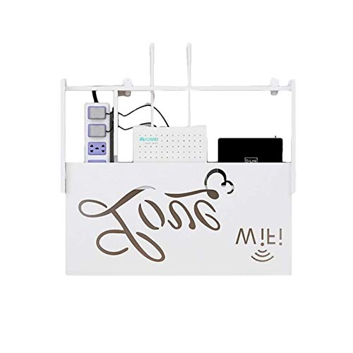 DHF WiFi Ruteador inalámbrico Rack de Almacenamiento , Creativo en Pared Set-Top Box Partición Rack TV Fondo de Pared Tallado Marco Decorativo , Blanco. (Color : White)
