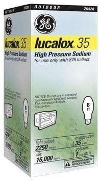 Ge High Pressure Sodium Bulb Lucalox 35 W Base Japan Maker New New York Mall 5.43 In. 1900 Med