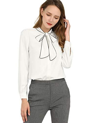 Allegra K Damen Langarm Lace Up Colorblock Button Bluse Shirt Weiß L