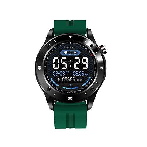 """JINPX Smartwatch,Reloj Inteligente IP67 con 1.3"""" Pantalla Táctil Completa,Presión Arterial,Podómetro,Monitor de Sueño,8 Modos de Deportes y GPS,Pulsera Actividad Inteligente para Hombre Mujer (Verde)"""