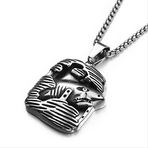 NC520 Collar con Colgante de Metal de tiburón Inoxidable para Hombres y Mujeres, Collar de pez de Hip Hop, Collar de Moda para Hombres