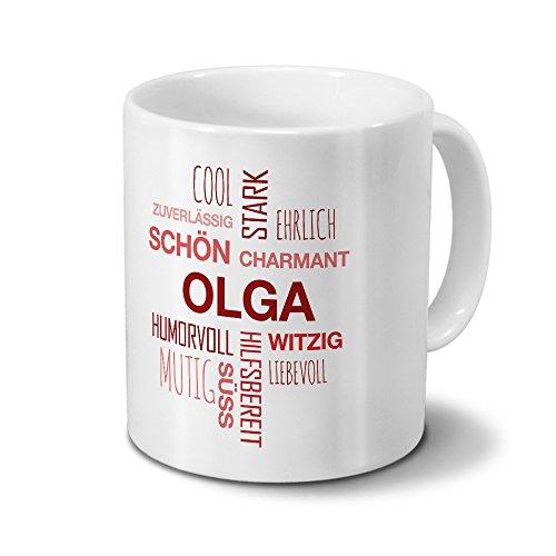 printplanet Tasse mit Namen Olga Positive Eigenschaften Tagcloud - Rot - Namenstasse, Kaffeebecher, Mug, Becher, Kaffeetasse