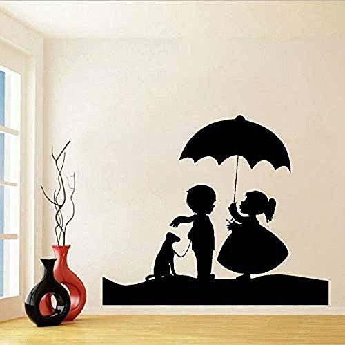 Muurstickers meisjes jongen hond en paraplu 70 x 58 cm vinyl doe-het-zelf muursticker muurschildering kamerdecoratie slaapkamer wooncultuur kunst poster