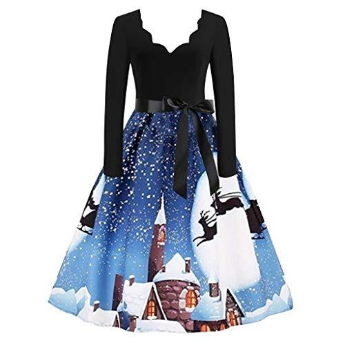 Vectry Damen Weihnachten Kleider Vintage Abendkleid v-Ausschnitt Weihnachten schneemann drucken schlank ftting Mode Langarm Prom Club Party schaukel Kleid Blau S