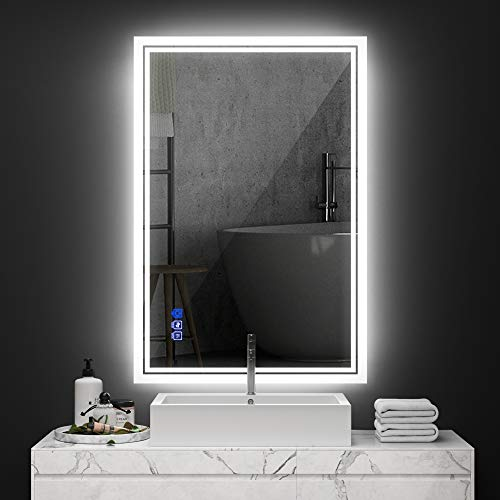 ANTEN 36x24 Inch Backlit Bathroom LED Mirror, Wall Mounted Bathroom Mirrors with LED Light, Horizontal/Vertical Anti-Fog Makeup Mirror