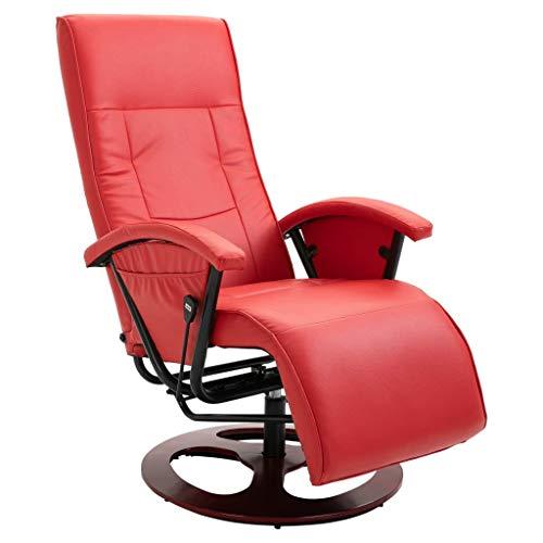vidaXL Sillón Giratorio para TV con Reposapiés Cuero Artificial Sofás Sala de Estar Salón Comedor Relajante Relax Muebles Mobiliario Bricolaje Rojo