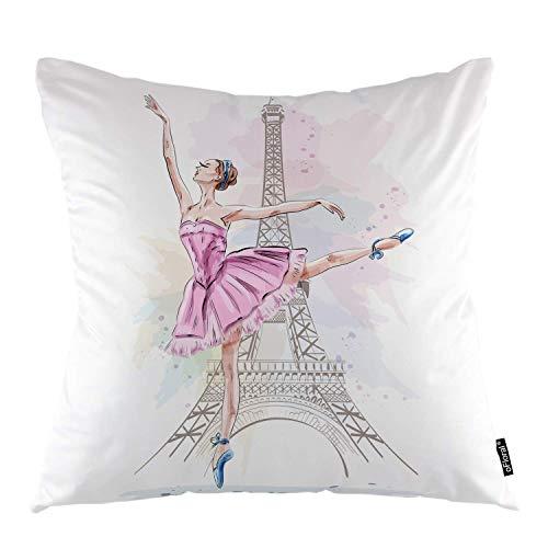 Rockboy Torre Eiffel Tiro Cuscino Copertine Balletto Ragazza Ballerina Parigi Torre Eiffel Decorativo Piazza Federa Federa Home Decor per per Divano Camera da Letto Soggiorno, 45X45 CM