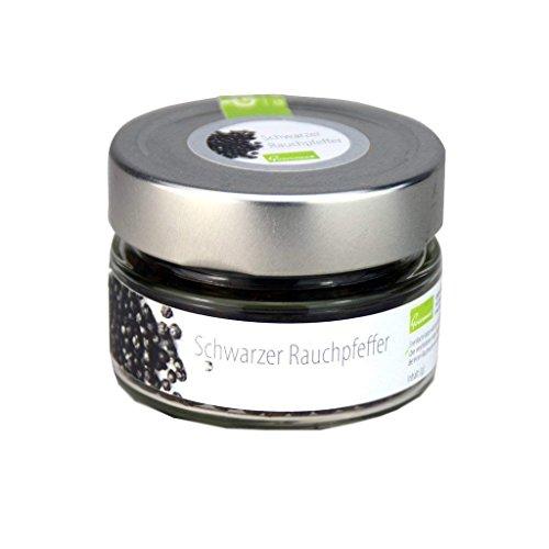 Schwarzer Malabar Rauchpfeffer, Pfeffer mit Buchenholz kalt geräuchert, aus kontrolliert biologischem Anbau, 60g