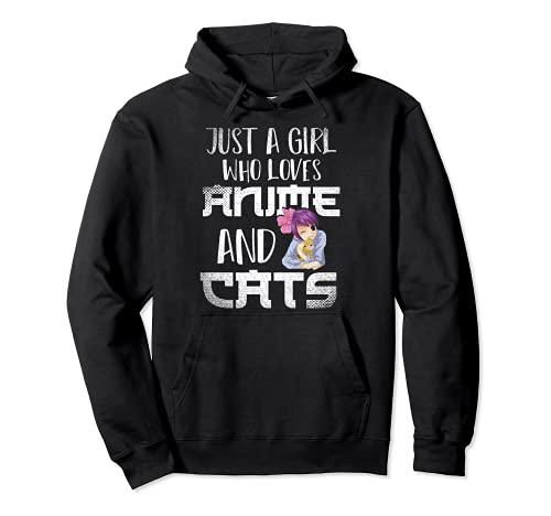 Sólo Una Chica Que Ama El Anime Y Los Gatos Otaku Kawaii Sudadera con Capucha