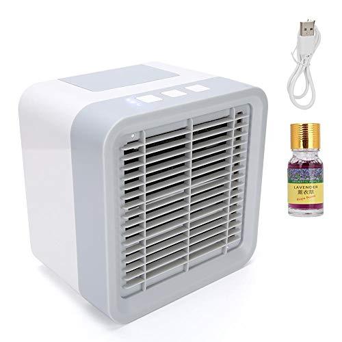 Qkiss Mini-airconditioner 3 in 1 Kleine persoonlijke USB-luchtkoeler Draagbare bureauventilator Mini-luchtfilter Luchtbevochtiger voor thuiskamer Kantoor
