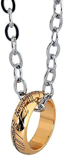 Collar con colgante de anillo de tono dorado para los fanáticos de cosplay de la joyería del señor de los anillos réplica del anillo único