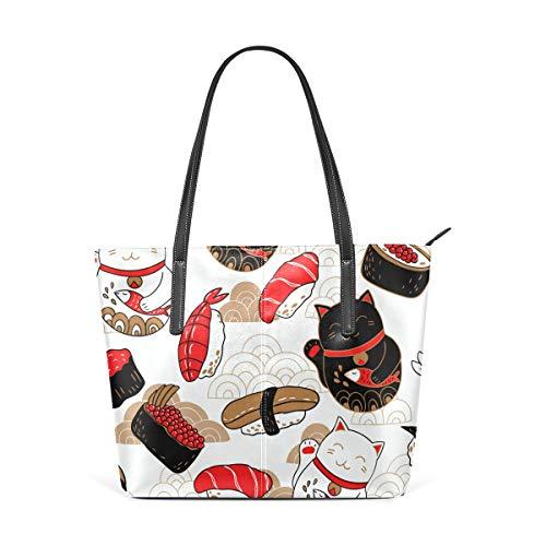 Joli sac à main en cuir avec motif de chat porte-bonheur japonais, sac à bandoulière pour femme et fille