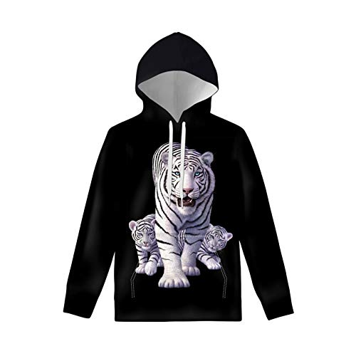 ZFRXIGN White Tiger Sweatshirts for Boys Kids Teens Girls Drawstring Hoodies Athletic Hooded Pullover 8-10 Years French Bulldog Hoodies with Big Pockets Black