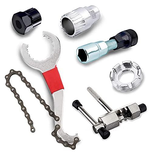MEISHANG Fahrrad Kassette Removal Tool,Kurbel Kette Achse Demontage Werkzeug,Tretlager Kurbelabzieher,Fahrrad Kassette Werkzeug,Kettenpeitsche Fahrrad Reparatur Werkzeug Set