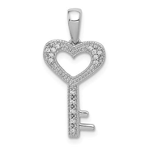 Jewels By Lux 14k White Gold 1/20ct. Diamond Heart Key Pendant (0.05 Ct Diamond Key)