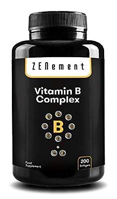 Vitamin B Complex, 200 Softgels | Contains All Eight B Vitamins (B1, B2, B3, B5, B6, B12, Biotin and Folic Acid) Plus Vitamins C and E | for Improved Energy, Mood & General Health | Gluten Free