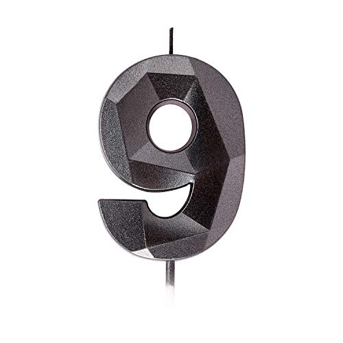 Happy Birthday Cake Candle Number, 3D Diamond Shape Smokeless Birthday Candle,2.87 Inch Gray Black Birthday Cupcake Toppers Decoration, Suit for Wedding Anniversary, Party, Children, Adults(Black 9)