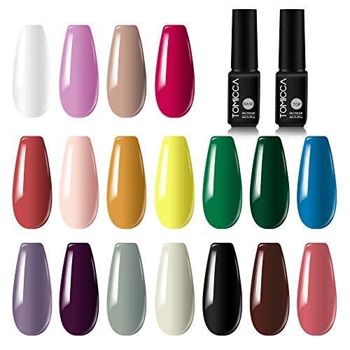 TOMICCA 20 Lot de Vernis Gel Semi-Permanent 18 couleurs 6ml Vernis à Ongles con Top Base Coat,UV LED Soak Off Gel Polish Manucure Nail Art Vernis Gel Ongle Kit Cadeau