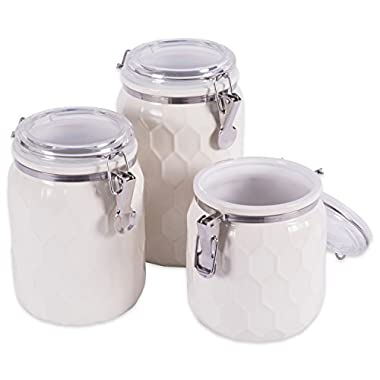 DII 3-Piece Modern Honeycomb Half Matte Glaze Ceramic Kitchen Canister Jar with Airtight Clamp Lid for Food Storage, Serve Coffee, Sugar, Tea, Spices and More, Off-White