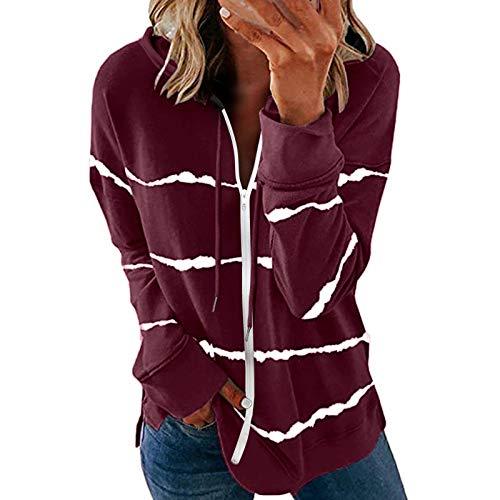 Women's Hoodies Full Zipper Lightweight Thin Hoodie Jacket for Women with Plus Size Sweatshirts Coat with Striped Wine