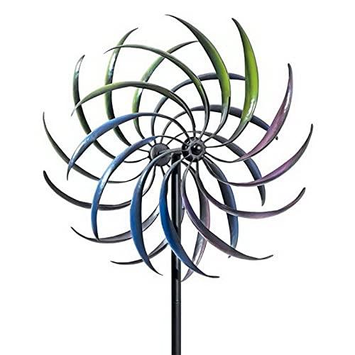 Molino de viento, 40,5x40.5x200cm Windwheel Whirligy Niños Juguetes, Enchufe de rotación de doble capa, Arco iris Teñido Molino de viento del hierro forjado para el césped al aire libre Balcón Garden
