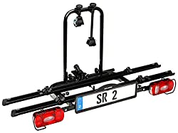 Bullwing SR2 - bike carrier for 2 bicycles hinged to the car trailer hitch (frame holder, wheel stopper, belt)