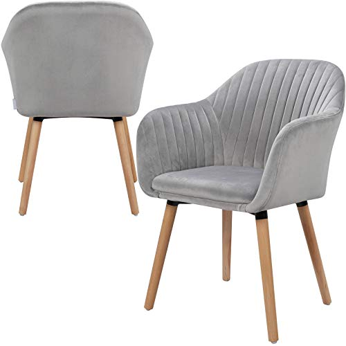 Lestarain Esszimmerstühle 2er Set Küchenstühle aus Samt Massivholz mit Armlehnen, Küchenstuhl Polsterstuhl Design Hellgrau