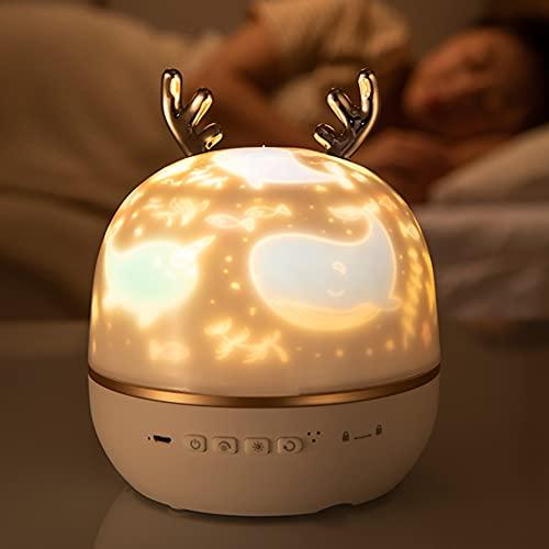 Proyector de luz de noche estrellada giratoria Calma Músicas Cumpleaños junto a la cama Tres colores Puede girar la luz de noche Carga USB Regalos geniales para niños niñas niños (Caja de música)