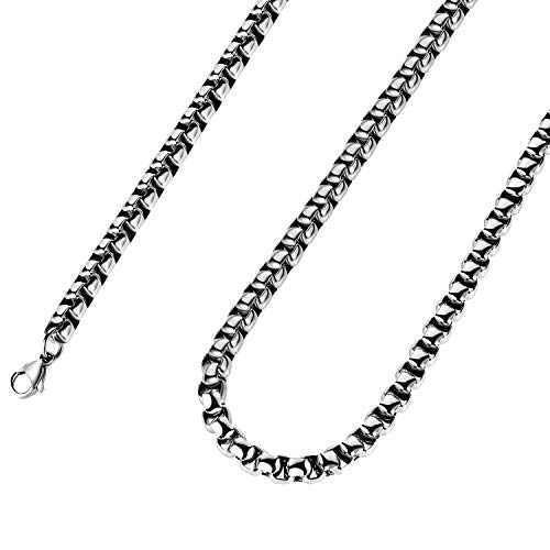 Estendly 5mm 16 to 38In Stainless Steel Rolo Chain Necklace Square Round Box Cable Chain Necklace for Men Women Jewelry