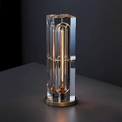 FHUA Lámpara Escritorio Lámpara de Mesa de Cristal, lámpara de cabecera de Dormitorio Simple, lámpara de Lectura de Cristal de investigación, lámpara de Mesa de Metal Decorativa (14 * 39 cm)
