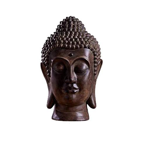 Buddha-Statue thailändischer Buddha-Kopf-Verzierung Zen Buddha-Statue, Wohnzimmer-Veranda-Wein-Kabinett-Handwerk (Color : A)