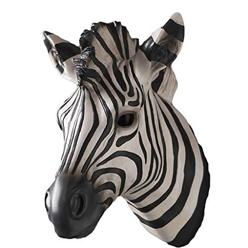 Escultura de escritorio Animal Horse Head Hogar Sala de estar Tablero negro Simulación de color Escultura 3d Resina Ciervo grande 22.5 * 19 * 27 cm