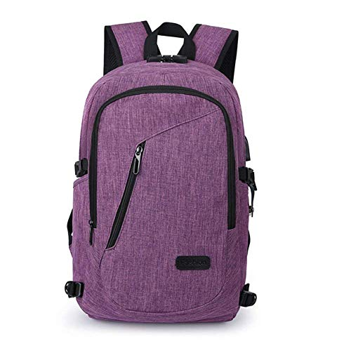 Laptop Backpack, Anti Theft Travel Backpack, Business Computer Bag, with USB Charging Port & Headphone Port fits 15.6 Inch Laptop/Notebook [Built-in two-wires] for Boys & Girls by MIC (Purple)