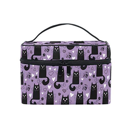 HaJie - Bolsa de maquillaje de gran capacidad, organizador divertido para gatos, amor, corazón, gatito, viaje, portátil, bolsa de almacenamiento para cosméticos para mujeres y niñas
