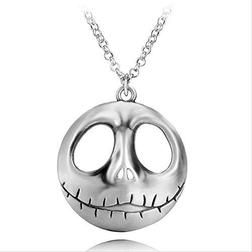 Joyería De Moda Skull Head Skellington Men Collar Y Llavero La Pesadilla Antes De Navidad Jack Skull Collar Y Llavero
