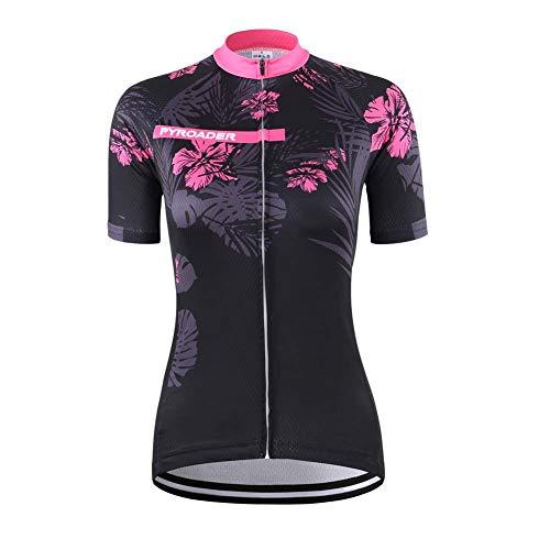 PYROADER® Damen Radtrikot Kurzarm Atmungsaktive Fahrrad Hemd mit 3 R¨¹ckentaschen Bicycle Jacke Quick Dry