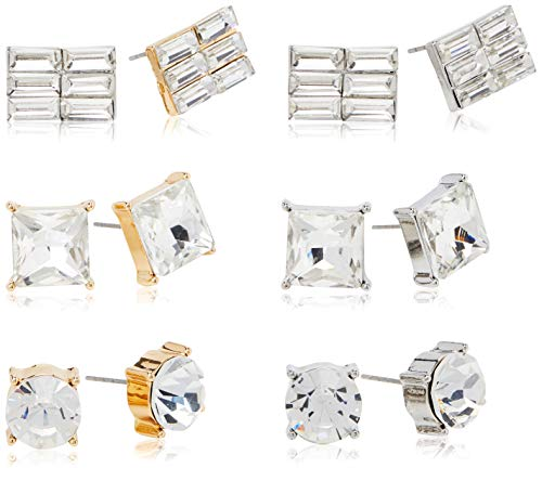 Urban Classics Unisex_Adult Diamond Earring Set 6-Pairs Cuff Links, Silver/Gold, EinheitsSize