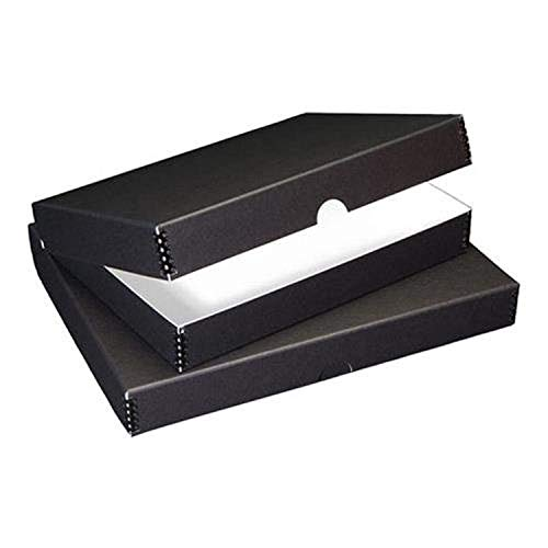 Lineco Archival Folio Storage Box. Metal Edge Archival Boxboard, Clamshell Lid. 9.5 x 12.5 x 1.75 inches. Protects Longevity, Organize and Store Photos, Documents, Craft, Cards, Magazine, Prints, Wedding Dresses, DIY.  Black