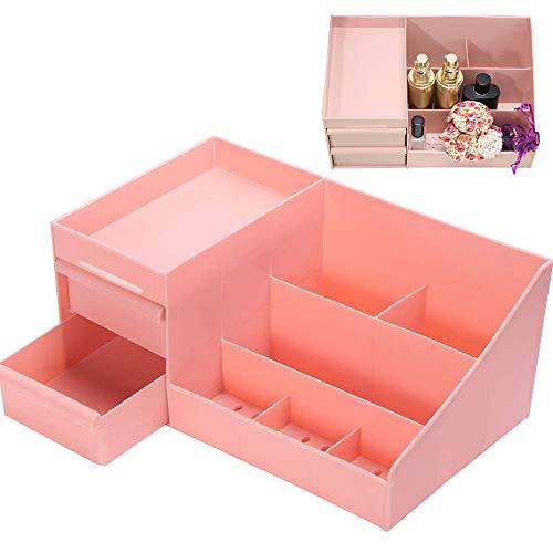 SEENPLIFE Caja de Almacenamiento de cosméticos, Caja de Almacenamiento de cosméticos Tipo cajón con diseño Transpirable, Organizador de cajones de Maquillaje para baño y Dormitorio (Pink)