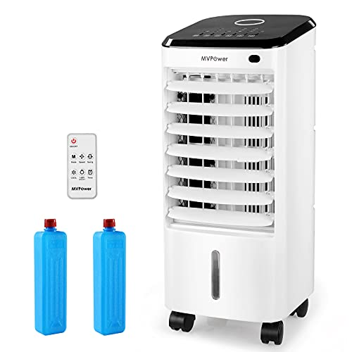 MVPower 3.5L Portable Mobile Air Conditioner, Air Cooler& Purifier & Humidifier, 3 in 1 Air Cooler with Remote Control & 2 Cool Packs, 1-7 Hour Timer, 3 Modes& 3 Speeds, Low Power Consumption(65W)